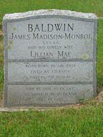 James Madison-Monroe Balwin and Lillian Mae Gravestone